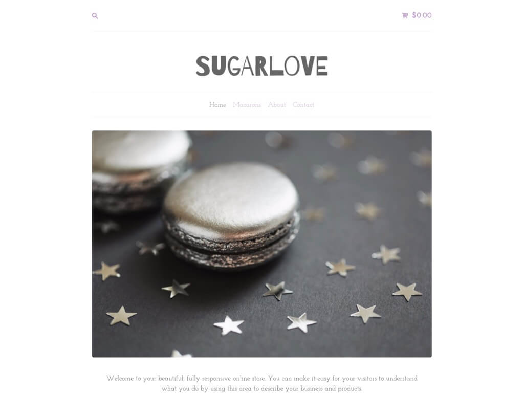 Preview of the Sugar style on a desktop device.