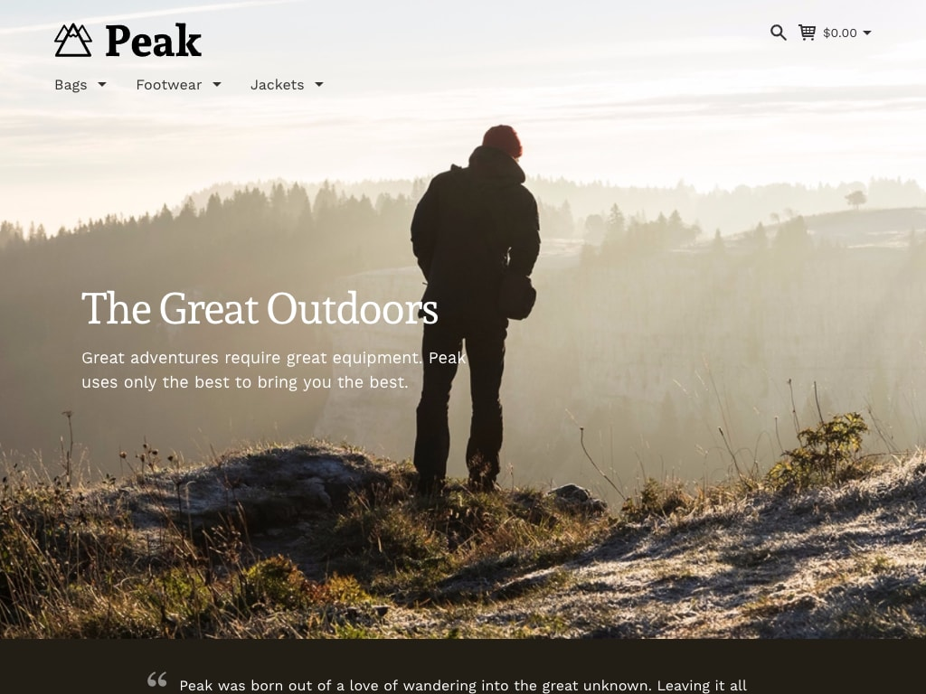 Preview of the Peak style on a desktop device.