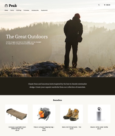 Preview of the 'Label - Peak' theme.
